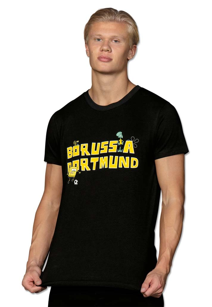 Black T-shirt with yellow lettering on chest