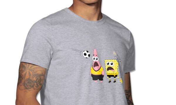 Gray T-shirt with two characters on the chest with their mouth opens