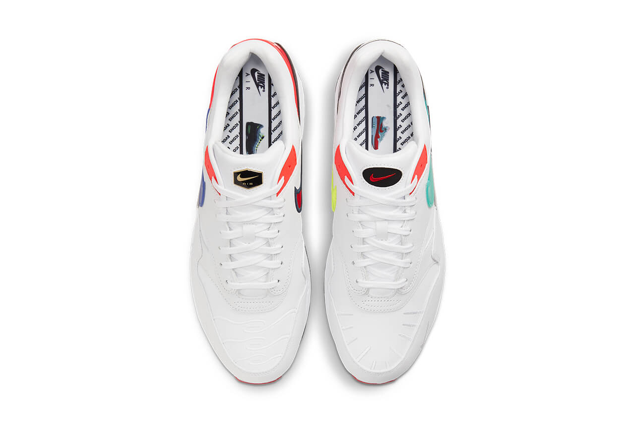 Bird's eye view of two white sneakers