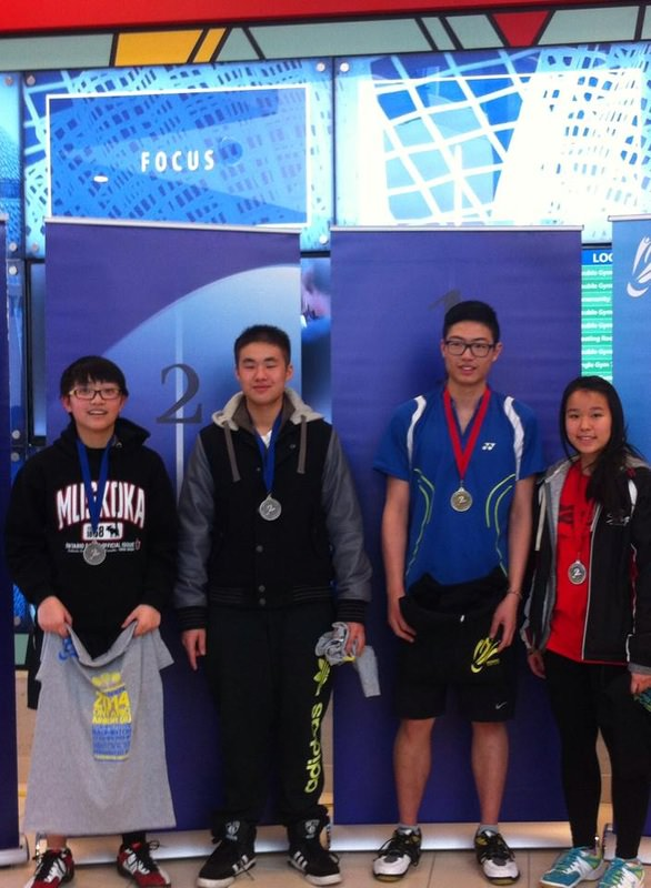 Cameron Lai (Left 2) U19 XD 2nd, Felix Lam ( Left 3) U19 XD Champion