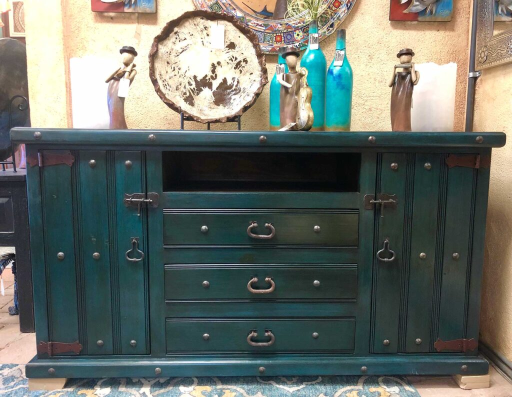 Teal wood buffet for sale at furniture store