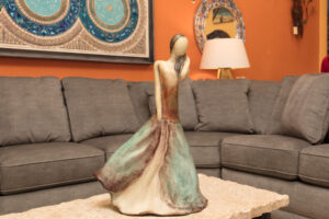 Decorative sculpture of a woman in Cabo San Lucas furniture store