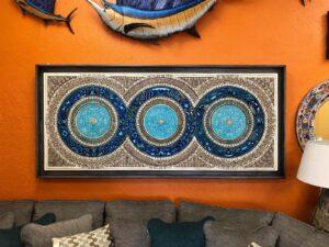 Blue mate paper rectangular wall art piece