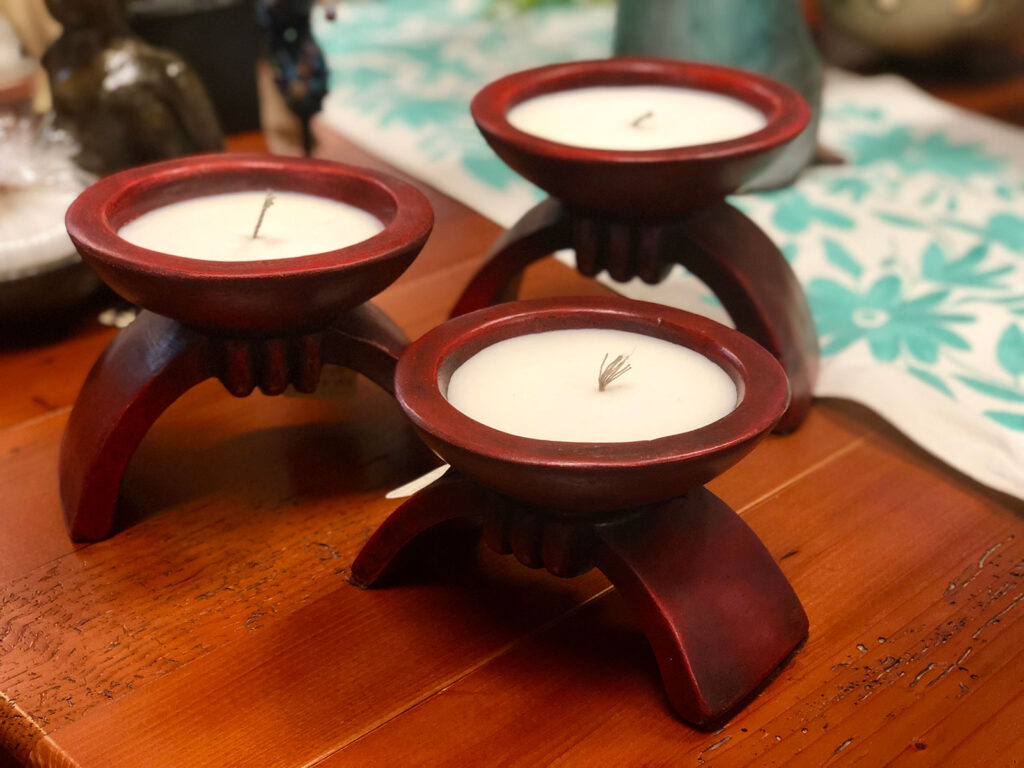 Red ceramic candle holders