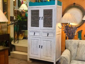 White and turquoise wormwood dresser with aluminum details
