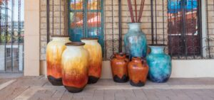 Large pots for sale at furniture store in Cabo San Lucas