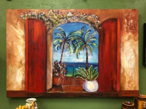 Painting of red doors and a view of the ocean and palm trees