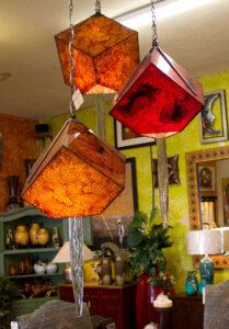 Carlos de Anda orange cube chandelier sold at furniture store in Cabo San Lucas, Mexico
