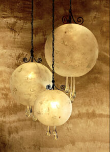 Carlos de Anda spheres chandelier  with glass droplets in Cabo San Lucas, Mexico
