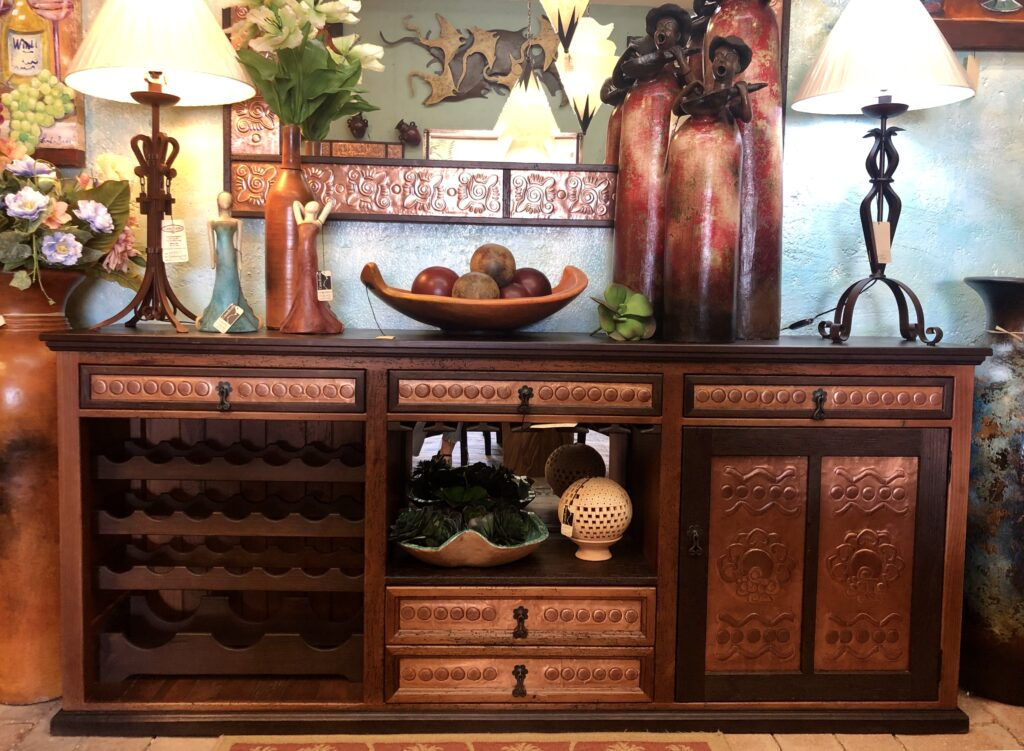 Bar furniture with copper details in Cabo San Lucas, Mexico