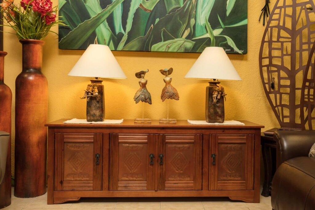 Buffet with four doors and copper details in Cabo San Lucas, Mexico
