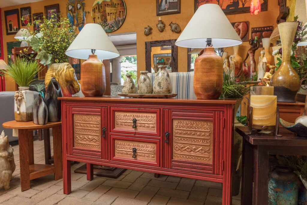 Red console table with copper details