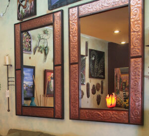 Rectangular mirrors with copper details