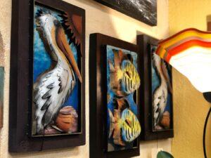 Rectangular metal wall art pieces with aquatic life