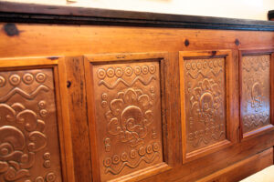 Copper details on bed frame