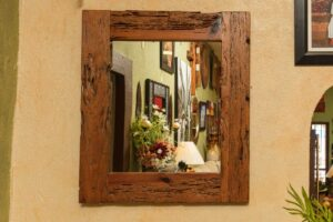 Rectangular mirror with reclaimed wooden frame