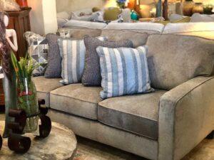 Light gray Flexsteel McLeran sofa with throw pillows