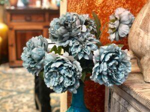 Blue faux flowers for interior decoration