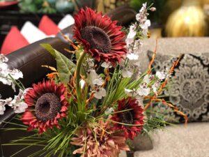 Red faux florals