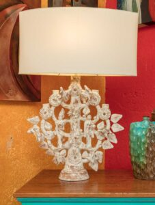 Tree-design white table lamp for sale at furniture store in Cabo San Lucas, Mexico