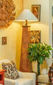 Pyramid hammered copper floor lamp with shade in Cabo San Lucas