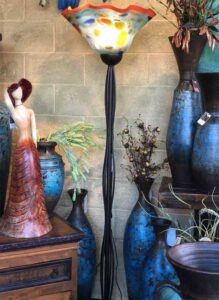 Multicolor blown glass floor lamp with iron base