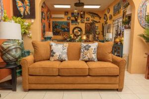 Orange La-Z-Boy Amanda sleep sofa in Cabo San Lucas showroom
