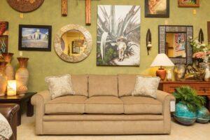 Beige La-Z-Boy Collins sofa in furniture showroom in Cabo San Lucas
