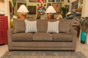 Brown La-Z-Boy Kennedy queen sofa sleeper in Cabo San Lucas furniture showroom