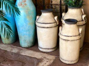 White floor urns for home decoration