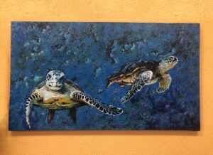 Painting of two turtles in the ocean, for sale in Cabo San Lucas