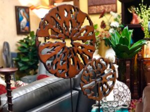 Wooden decorative disks at furniture store in Cabo San Lucas