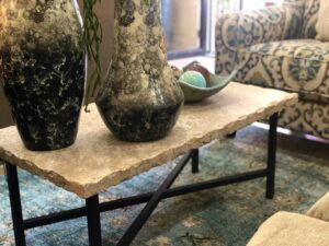 Marble-top rectangular coffee table