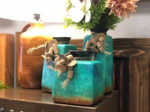 Square ceramic vases for coffee table or night stand