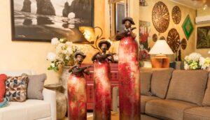 Ceramic musician sculptures for living room decoration