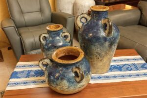 Blue decorative pottery with handles for living room