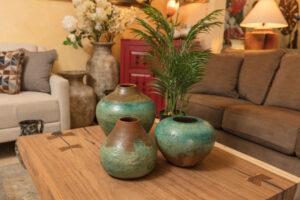 Brown and blue decorative ceramic pots