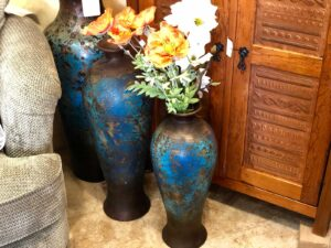 Blue floor urns for home decoration