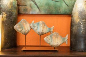 Decorative centerpiece with ceramic fish