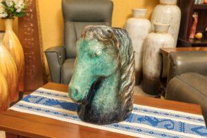 Decorative ceramic sculpture of horse head