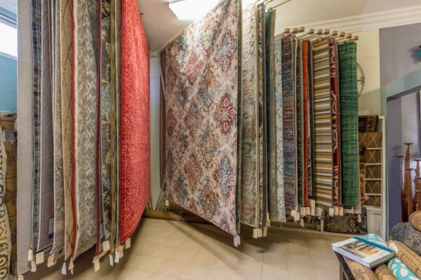Large collection of rugs at furniture store in Cabo San Lucas