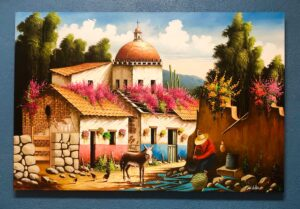 Painting of beautiful Mexican home with bugambilia flowers