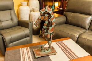 Metal sculpture of a seahorse