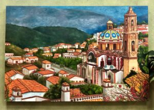 Painting of Mexican village landscape