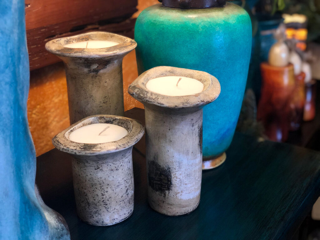 Ceramic candle holders at furniture store in Cabo San Lucas