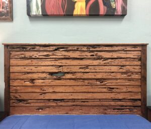 Distressed wormwood headboard in Cabo San Lucas, Mexico