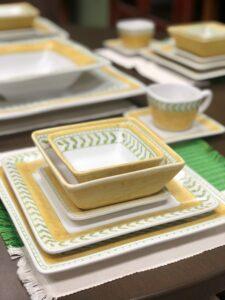 Yellow and green handpainted dinnerware set