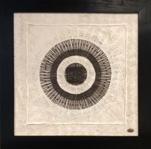 Mexican amate or handcrafted bark paper wall art with design, sold in Cabo San Lucas