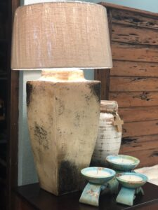 Large cube table lamp at furniture store