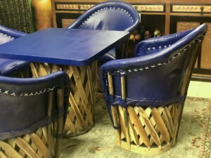 Blue Mexican equipal table and chairs
